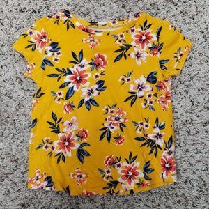 Cotton marigold color floral tee